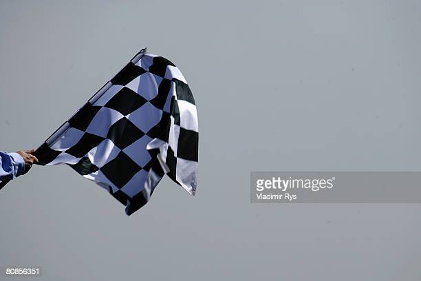 Chequered flag is waved to signal the end of practice for the Spanish Formula One Grand Prix at the Circuit de Catalunya on April 25 2008 in...