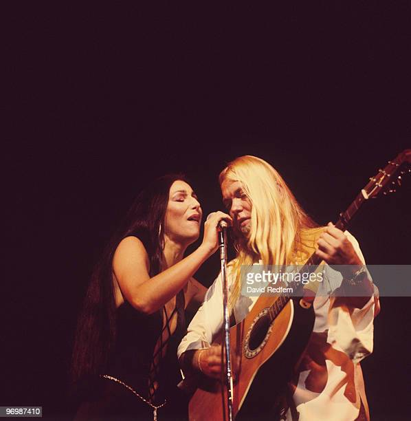 Cher and Gregg Allman perform on stage at the Rainbow Theatre in London England on November 24 1977