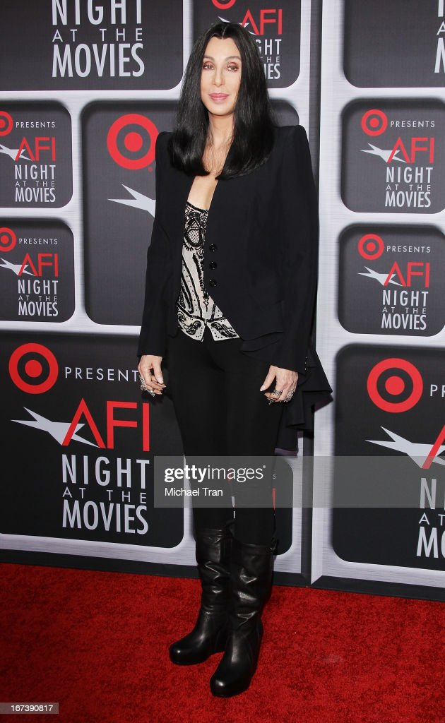 <a gi-track='captionPersonalityLinkClicked' href=/galleries/search?phrase=Cher+-+Performer&family=editorial&specificpeople=203036 ng-click='$event.stopPropagation()'>Cher</a> arrives at the Target presents AFI Night at the movies held at ArcLight Hollywood on April 24, 2013 in Hollywood, California.