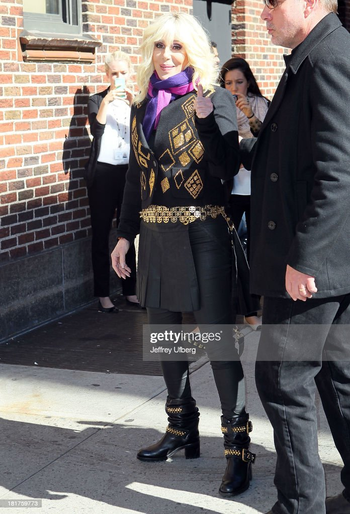 Cher arrives to 'Late Show with David Letterman' at Ed Sullivan Theater on September 24, 2013 in New York City.