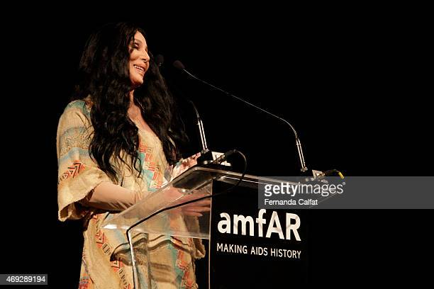 Cher attends the 5th Annual amfAR Inspiration Gala at the home of Dinho Diniz on April 10 2015 in Sao Paulo Brazil