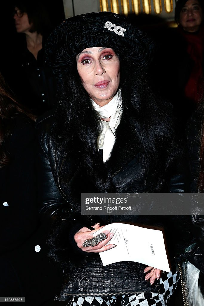 Cher attends the Balmain Fall/Winter 2013 Ready-to-Wear show as part of Paris Fashion Week on February 28, 2013 in Paris, France.