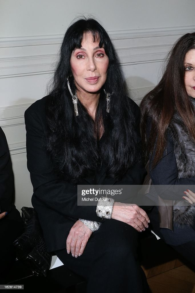 <a gi-track='captionPersonalityLinkClicked' href=/galleries/search?phrase=Cher+-+Performer&family=editorial&specificpeople=203036 ng-click='$event.stopPropagation()'>Cher</a> attends the Gareth Pugh Fall/Winter 2013 Ready-to-Wear show as part of Paris Fashion Week on February 27, 2013 in Paris, France.
