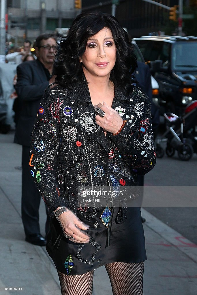Cher departs 'Late Show with David Letterman' at Ed Sullivan Theater on September 24, 2013 in New York City.