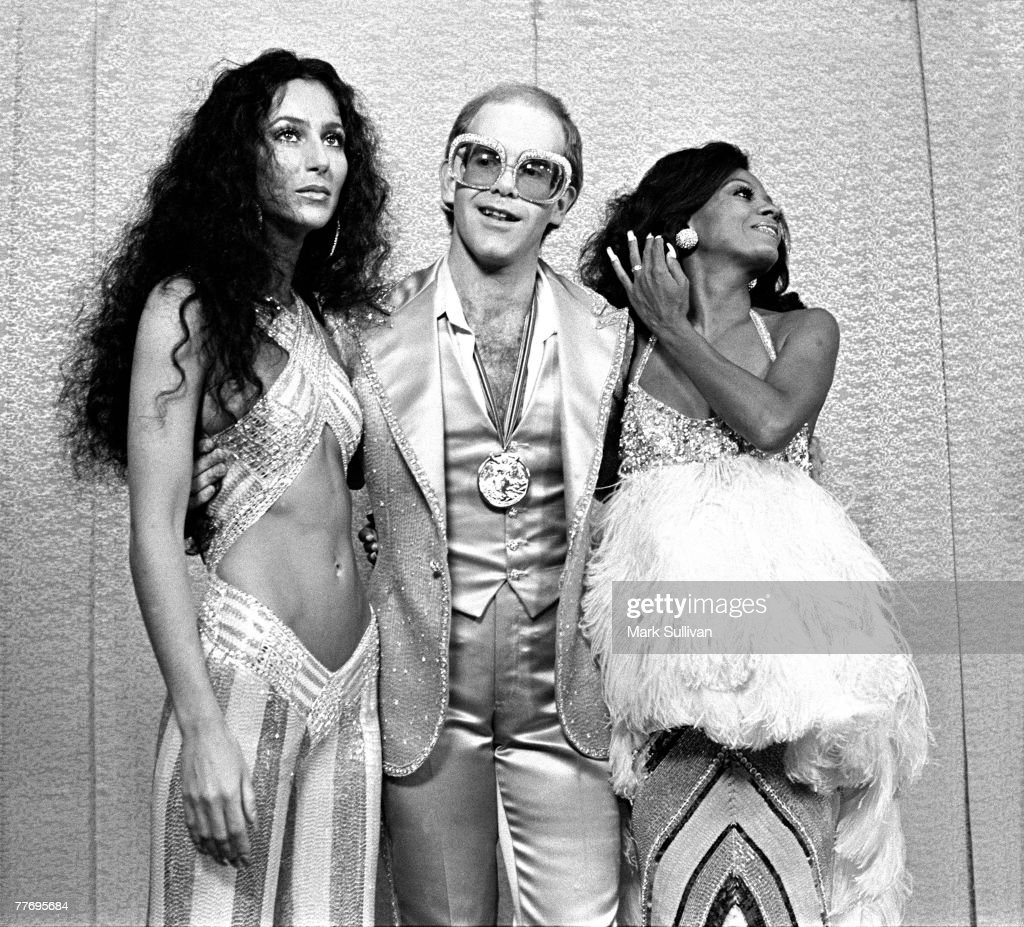 Cher, <a gi-track='captionPersonalityLinkClicked' href=/galleries/search?phrase=Elton+John&family=editorial&specificpeople=171369 ng-click='$event.stopPropagation()'>Elton John</a> and Diana Ross at Rock Awards Santa Monica Civic Auditorium 1975; Various Locations; Mark Sullivan 70's Rock Archive