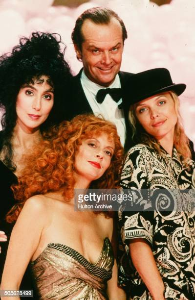 Cher Jack Nicholson Michelle Pfeiffer and Susan Sarandon pose for the Warner Bros movie 'The Witches of Eastwick' circa 1987