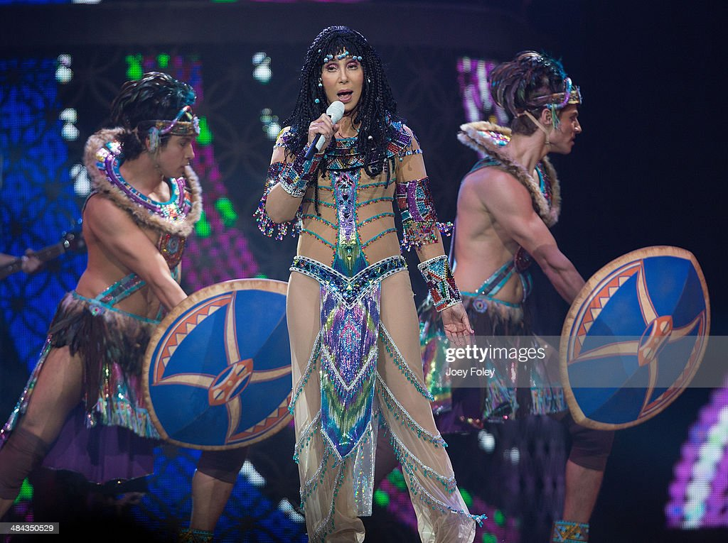 Cher performs live in concert on The Dressed to Kill Tour at Bankers Life Fieldhouse on April 11, 2014 in Indianapolis, Indiana.