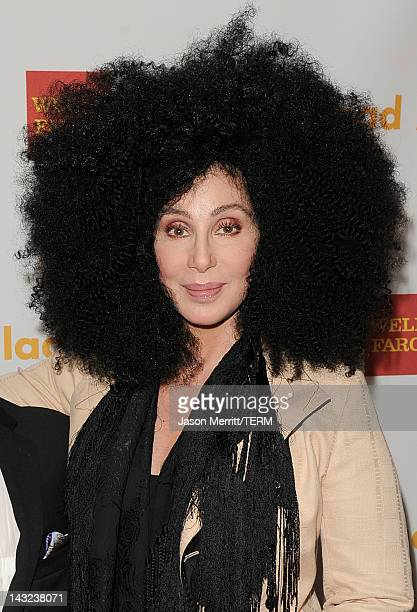 Cher poses backstage at the 23rd Annual GLAAD Media Awards presented by Ketel One and Wells Fargo held at Westin Bonaventure Hotel on April 21 2012...