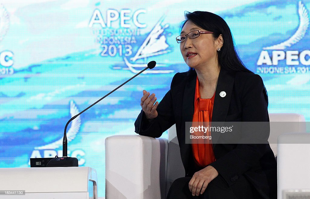 Cher Wang, chairwoman of HTC Corp., speaks during a panel discussion at the Asia-Pacific Economic Cooperation (APEC) CEO Summit in Nusa Dua, Bali, Indonesia, on Sunday, Oct. 6, 2013. Global growth will probably be slower and less balanced than desired, ministers from the APEC member economies said as they agreed to refrain from raising new barriers to trade and investment. Photographer: SeongJoon Cho/Bloomberg via Getty Images