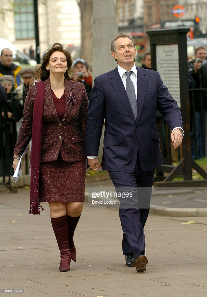 Cherie Blair and Prime Minister Tony Blair during Robin Cook Memorial Service at St Margarets Church Westminster in London, Great Britain.