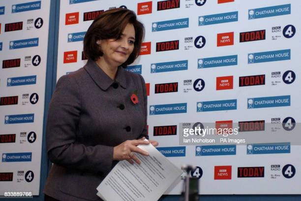 Cherie Blair delivers a speech at Chatham House London on the theme that gender equality is a right that transcends culture and religion