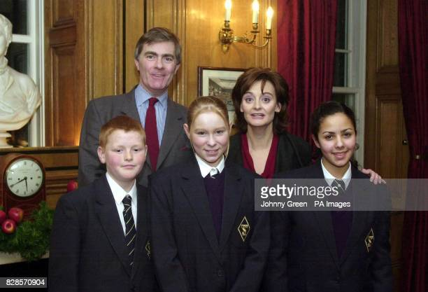 Cherie Blair stands for a portrait with Patrick Mercer MP and William Black Kirsty Archer and Jihan Ahmed all from Newark in Nottinghamshire at a...