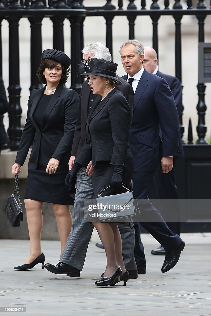 <a gi-track='captionPersonalityLinkClicked' href=/galleries/search?phrase=Cherie+Blair&family=editorial&specificpeople=158226 ng-click='$event.stopPropagation()'>Cherie Blair</a>, <a gi-track='captionPersonalityLinkClicked' href=/galleries/search?phrase=Tony+Blair&family=editorial&specificpeople=118622 ng-click='$event.stopPropagation()'>Tony Blair</a>, John Major and Norma Major seen attending Baroness Thatcher's Funeral at St Paul's Cathedral on April 17, 2013 in London, England.