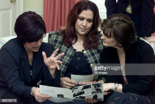 Cherie Blair wife of Britain's Prime Minister Tony Blair with Wahida chair of the Afghan Association based in London and Alia a maths teacher in...