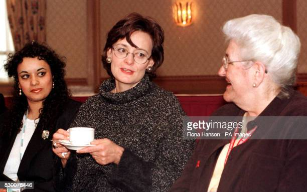 Cherie Blair wife of British Prime Minister Tony Blair takes tea with Joyce Keller and Cherie Hill delegates from the north west to discuss their...