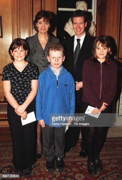 Cherie Blair wife of British Prime Minister Tony Blair with Christopher Leslie MP for Shipley and children from his constituency Catherine Clark...