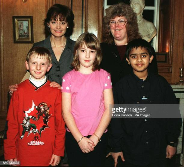 Cherie Blair wife of British Prime Minister Tony Blair with Ms Kali Mountford MP for Colne Valley and local children Daniel Whiteley Lottie...