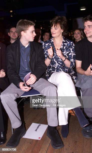 Cherie Blair wife of the Prime Minister and their son Euan in the audience as Tony Blair addressses a Labour youth rally at the Jongleurs comedy club...