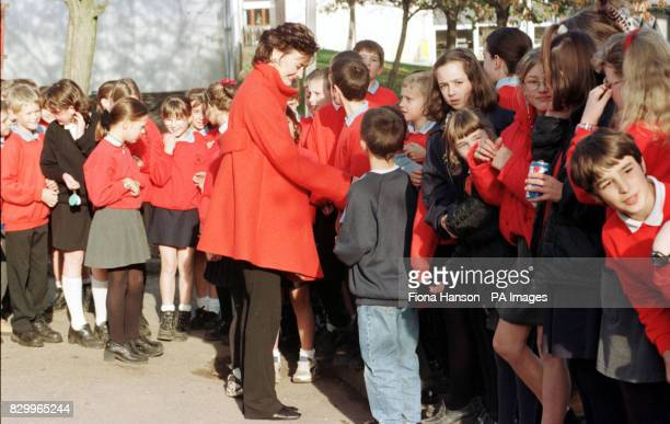 Cherie Blair wife of the Prime Minister Tony Blair surrounded on her arrival by the children of Dunblane Primary School in Scotland today In her role...