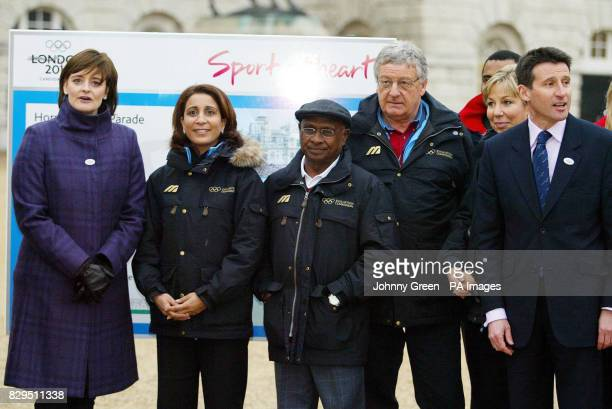 Cherie Blair with Nawal El Moutawakel Lord Coe and members of the International Olympic Committee's evaluation commission at Horse Guards parade
