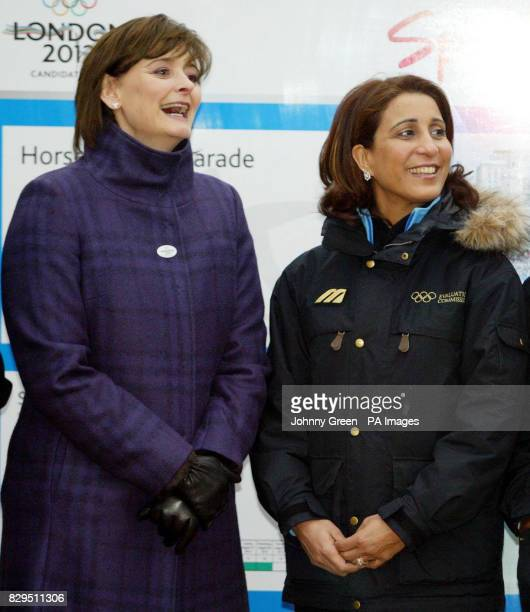 Cherie Blair with Nawal El Moutawakel president of the International Olympic Committee's evaluation commission at Horse Guards parade