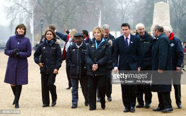 Cherie Blair with Nawal El Moutawakel president of the International Olympic Committee's evaluation commission Lord Coe and other members of the...