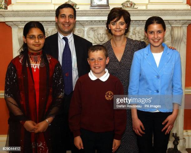 Cherie Blair with Uzma Reman Jack Hackett and Alya Bendardas and Dr Evan Harris MP oxford West Abingdon at 10 Downing Street in central London The...