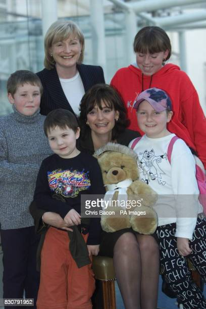 Cherie Booth wife of British Prime Minister Tony Blair in Dublin today pictured with Cory Moore aged 6 and Isobel Pearson Evans aged 8 both from The...