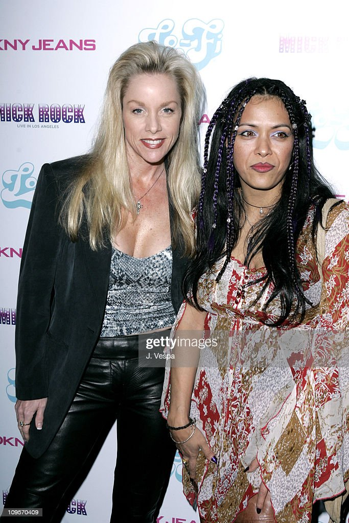 Cherie Currie and Annabella Lwin during DKNY Jeans Presents 'Mick Rock Live in L.A.' Exhibit at the Lo-Fi Gallery at Lo-Fi in Los Angeles, California, United States.