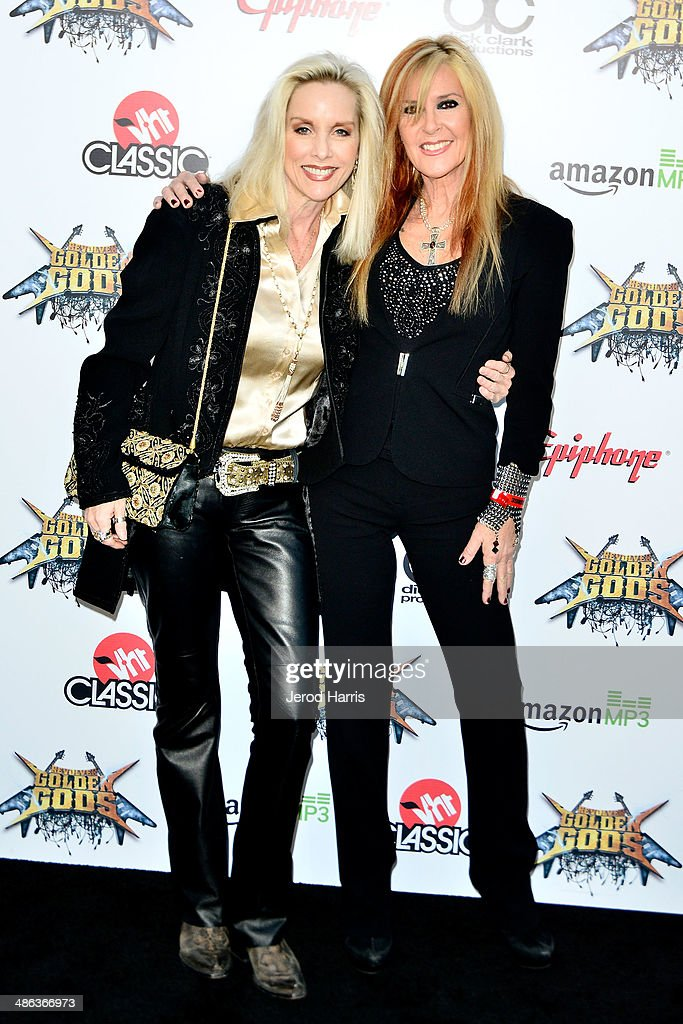 Cherie Currie and Lita Ford arrive at the 2014 Revolver Golden Gods Awards at Club Nokia on April 23, 2014 in Los Angeles, California.