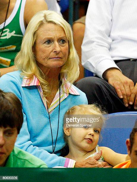 Cherilyn Hewitt and her granddaughter Mia Hewitt watch the action during day one of the Davis Cup tie between Australia and Thailand at Townsville...