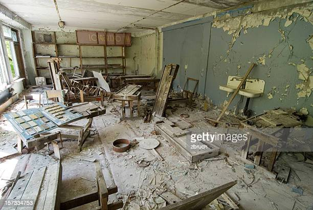 Chernobyl after disaster. Abandoned school