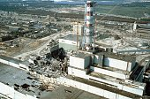 Chernobyl nuclear power plant a few weeks after the disaster Chernobyl Ukraine USSR May 1986