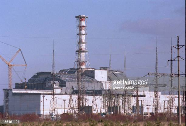 Chernobyl Power Station reactor number 4 inside its steel and concrete sarcophagus November 1995