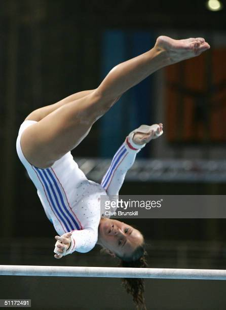 Cherrelle Fennell of Great Britain competes in the qualification round of the team event at the women's artistic gymnastics competition on August 15...