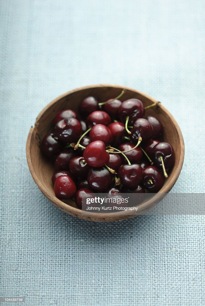 Cherries on Blue Linen : Stock Photo