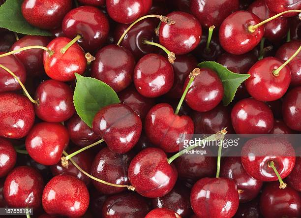 Cherries sweet with stem and Leafs