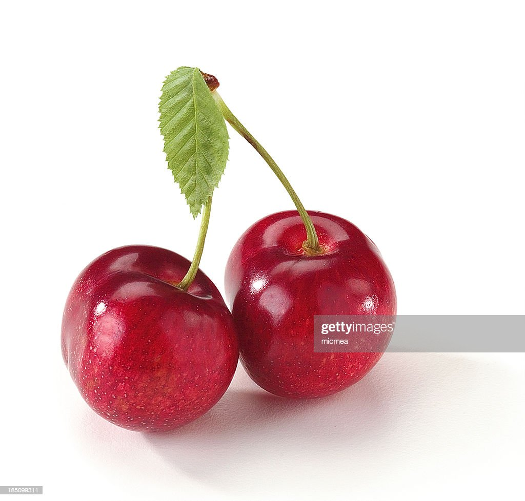 cherries with leaf