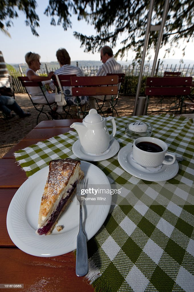 Cherry cheesecake and coffee : Stock Photo