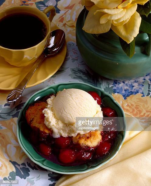 Cherry cobbler with ice cream                                                                                                                                                                   and coffee