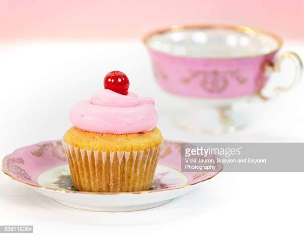 Cherry Cupcake and Vintage Pink Cup and Saucer