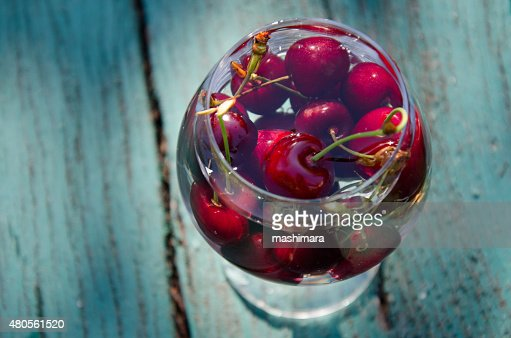 Cherry in a glass : Stock Photo