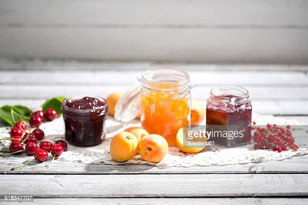Cherry jam and cherries, Apricot jam and apricots, Currant jam and red currants on dolly