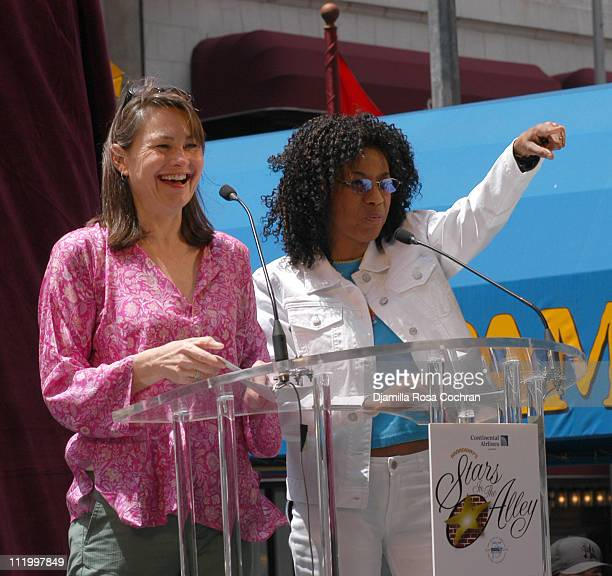 Cherry Jones and Adriane Lenox during 19th Annual Broadway's Stars in the Alley at Shubert Alley in New York City New York United States