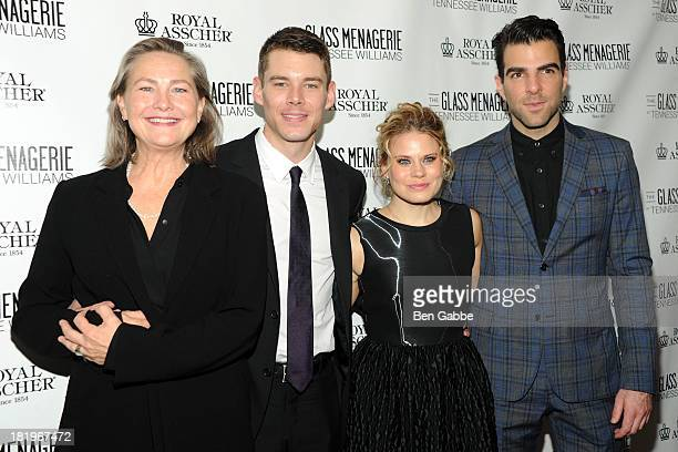Cherry Jones Brian J Smith Celia KeenanBolger and Zachary Quinto attend 'The Glass Menagerie' Broadway Opening Night After Party at The Redeye Grill...