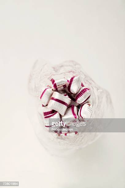 Cherry mint sweets in plastic bag