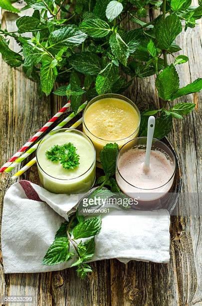 Cherry smoothie, apricot peach smoothie and parsley mint smoothie