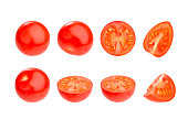 Group of very fresh cherry tomatoes isolated on a white background, with clipping path