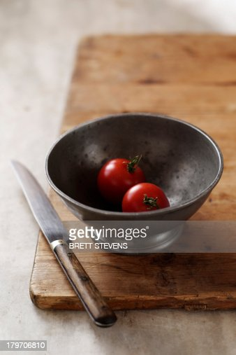 Cherry tomatoes in bowl : Stock Photo