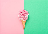 Cherry tree blossom in ice cream waffle cone on hipster colors background. Styled flat lay. Minimal concept